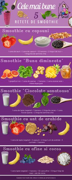 Cele mai bune 5 retete de smoothie - Ama Nicolae Healthy Juices, Healthy Smoothies, Health And Nutrition, Healthy Drinks, Vegan Recepies, Raw Food Recipes, Healthy Recipes, Smoothie Drinks, Smoothie Recipes