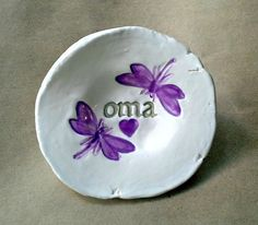 OMA Ceramic Trinket Bowl two dragonflies and heart by dgordon