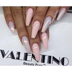 Pale pink and holographic nails