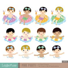 Boys Pool Party Digital Clipart by LittleMoss on Etsy Boy Pool Parties, Summer Kids, Art For Kids, Boy Or Girl, Craft Projects, Stationery, Clip Art, Scrapbook, Invitations