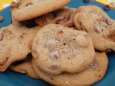 Take 5 Cookies - 2 1/2 cups flour + 2 tablespoons  1 teaspoon baking soda  1 teaspoon salt  1 cup butter  1/2 cup sugar  1/2 cup packed brown sugar  1 1/2 teaspoons vanilla  2 eggs  3/4 cup milk chocolate chips  3/4 cup peanut butter chips  3/4 cup broken up pretzel pieces  3/4 cup caramels (I used Werther's) cut up into about 6 pieces each (you can also use caramel bits but I prefer the cut up caramels)