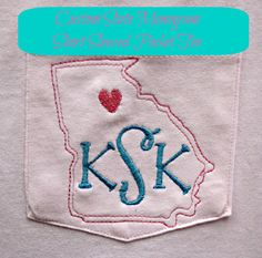 Items similar to Custom State Monogrammed Pocket Tee Short Sleeved Comfort Colors Shirt - Choose your state on Etsy Monogram Pocket Tees, Custom Tees, Playing Dress Up, Machine Embroidery, What To Wear, Great Gifts, Fashion Accessories, Play Dress, Southern Style
