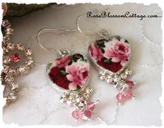 Pink Red Earrings Broken China Crystal