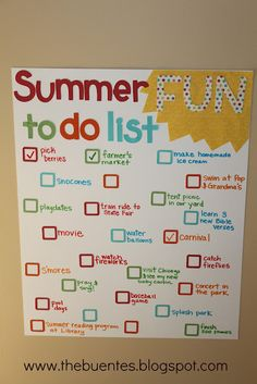 Cute idea for a summer to-do list!