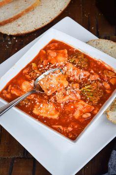 Tuscan White Bean Ravioli Tomato Soup | Gringalicious