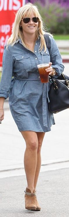 Who made  Reese Witherspoon's aviator sunglasses, brown suede boots, black handbag, and denim dress that she wore in Los Angles?