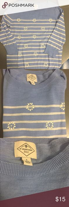 St Johns's Bay women's cotton sweater St John's Bay women's cotton sweater. This sweater is really adorable it is a light blue and white with small flower designs in front. The flower designs are white a cream color and middle is silver. This can be worn for anything. Super classy and cute all in one!!! St John's Bay Sweaters Crew & Scoop Necks