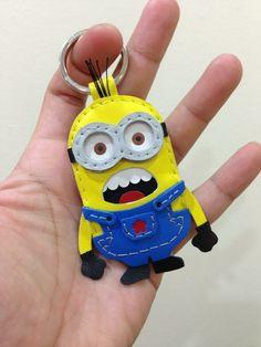 神偷奶爸 2 Despicable Me 2 Minion 小小兵 黃色 狂叫版 藍衣服 Dave 手工皮革 鑰匙圈