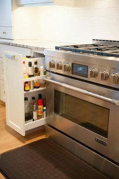 Kitchen--I want this range but I also really like the drawer for those things used all the time on the stove- oils, sprays, spices, etc. Narrow Kitchen, Cozy Kitchen, Kitchen Tops, Home Decor Kitchen, Kitchen Storage, Home Kitchens, Kitchen Design, Home Renovation, Home Remodeling