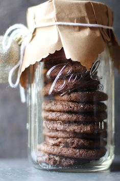 DIY Holiday gift...Cookies in Jar with Brown Paper Covers- simple ornament maybe? couldn't be more easy, buy cookies at favorite bakery, bring home wrap up! #givebakery #badbaker #greatgifter #sweettreats #cookies