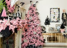 Pink, Black and White Halloween Decorations by Jennifer Perkins
