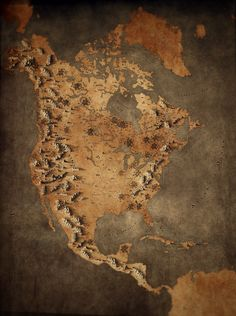 Fantasy Map of North America — Breakdown – Callum Ogden – Medium Fantasy Map Making, Fantasy City Map, Fantasy World Map, Fantasy Places, Fantasy Art, North America Map, Environment Concept Art, Map Design, City Maps