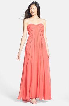 Long bridesmaid dress in pretty 'Petunia Pink'