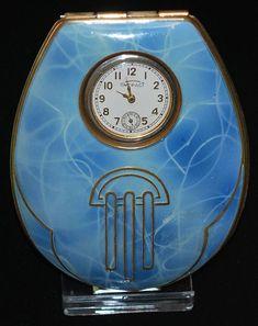 Enamel Art Deco Watch Compact..http://www.rubylane.com/item/588834-ss-UEN503/Enamel-Art-Deco-Watch-Compact