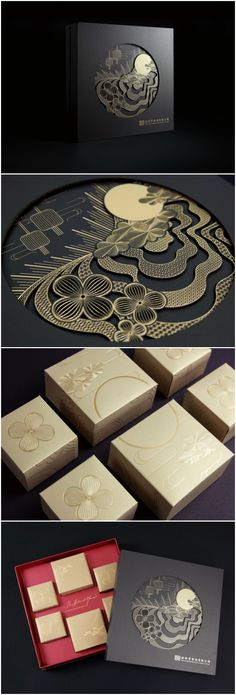 Modern Chinese Premium Mooncake Packaging - World Brand Design Society Design Tutorials, Diy Design, Gift Box Design, Home Design, Package Design Box, Packaging World, Gift Box Packaging, Luxury Packaging, Brand Packaging
