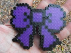 Purple perler beads bow with ribbon