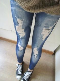 Womens Fashion Star Retro Denim Skinny Jeans Tights Jeggings Pants Trousers OS