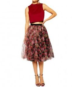 Floral Tiered Tulle Skirt