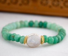 Boho Chrysoprase Bracelet with White Coin Pearl by LaliJewelryShop