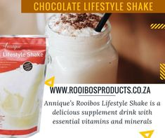 Lifestyle Shake with Rooibos Vitamins And Minerals, Yummy Drinks, Glass Of Milk, Shake, Chocolate, Facebook, Lifestyle, Food, Products