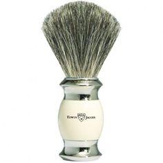 Edwin Jagger Shaving Brush, Pure Badger, Imitation Ivory, Nickel Plated Shaving Trimmer, Shaving Brush, Wet Shaving, Edwin Jagger, Straight Razor, Barber Shop, Plating, Pure Products, Badger
