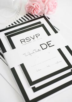 The Night Circus Black and White Wedding Invitation  Simple by ShineInvitations, $100.00