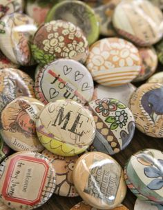 "Wouldn't a button-maker with lots of photo copies be fun at a family reunion? 1"" art buttons/pins"