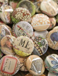 """1"""" art buttons/pins ... we borrowed a button maker - Pam Garrison"""