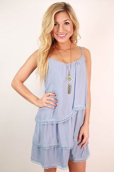 This ruffled, periwinkle tank is so soft and fun!