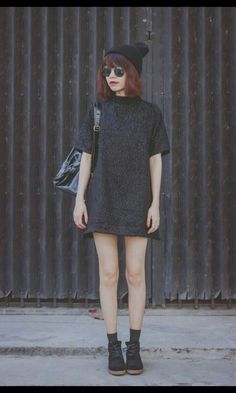 grey dress, grey/black socks, black beanie, black boots