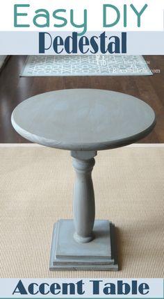 Easy DIY Pedestal Accent Table   Remodelaholic.com