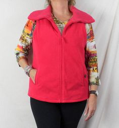 Lands End Fleece Vest L 14 16 size Bright Pink Zip Front Sweater Collar Heavy #LandsEnd #Vest