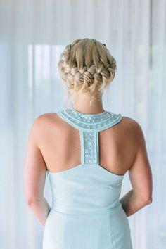 French Braid Halo bridesmaid hairstyle / http://www.deerpearlflowers.com/20-beautiful-bridesmaid-hair-styles/