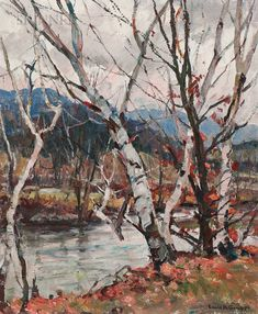 """""""Gray Day Vermont,"""" Emile Albert Gruppé, oil on canvas, 30 x private collection. Vermont, Modern Impressionism, Green Mountain, American, Impressionist, New England, Auction, Birches, Mountains"""