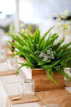 rustic green fern wedding centerpiece idea / http://www.deerpearlflowers.com/greenery-fern-wedding-ideas/