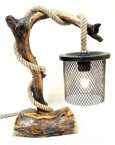 wooden handmade table lamp with truck air filter hat. Rustic Table Lamps, Rustic Wooden Table, Table Lamps For Bedroom, Table Lamp Wood, Wooden Lamp, Wooden Decor, Wooden Tables, Bamboo Table, Driftwood Lamp