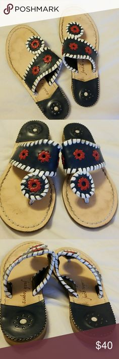 Girls Jack Rogers Navajo leather sandals 13 Girls Jack Rogers leather Navajo style flip flop/sandal. Leather, size 13. Navy, red, and white. Gently used, good condition. Jack Rogers Shoes Sandals & Flip Flops