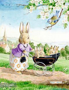 PortForLio - The proud mother rabbit pushing pram with four bunnies
