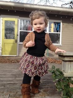 My little girl will probably get stuck wearing minnetonkas forever  love them! Love this outfit!