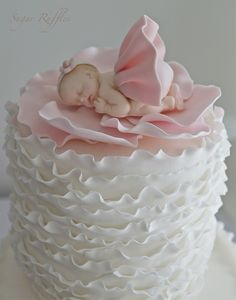 Baby Shower Cake - For all your baby cake decorating supplies, please visit… Fondant Baby Torte, Baby Cakes, Baby Cake Topper, Cake Toppers, Cupcake Cakes, Pink Cakes, Rose Cupcake, Cute Cakes, Pretty Cakes