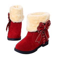 DEESEETM Warm Women Flats Shoes Bowknot Snow Boots Autumn Winter Shoes US 55 Wine -- Check out the image by visiting the link.