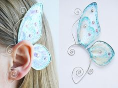 """Shop put  favorites, we often have discounts and promotions! Pls, keep an eye on the store - https://www.etsy.com/ru/shop/EarringsEarcuffs      I make a gift with every order :)    Wings are shipped in double thickness boxes and include a care sheet to keep your wings in perfect condition for many years.      Ear Cuff """"Graceful Flight"""" - shocking details.  It would seem, how can a cute miniature butterflies become the basis for a grand surround accessory? In fact - yes! And it looks just…"""