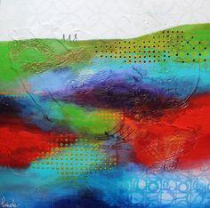 """Nancy Létourneau (Pixels)  Les 3 mousquetaires , 2017 (Série Footprint) Technique mixte sur bois 20"""" x 20"""" Gouache, Collage, Pixel, Footprint, 3 D, Creations, Abstract, Artwork, Impressionism"""