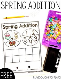 Dive into your stash of mini erasers or use our printable cut outs for a playful spring addition game that gives kids practice writing and solving addition equations. It's a perfect math center for kindergarten! Addition Activities, Addition Games, Math Activities For Kids, Spring Activities, Addition And Subtraction, Math Stations, Math Centers, Playdough To Plato, Kindergarten Activities