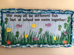 "July-aug ""We may all be different fish but at school we swim together!"" Prek bulletin board for swimming/water study! Fish Bulletin Boards, Summer Bulletin Boards, Back To School Bulletin Boards, Preschool Bulletin Boards, Classroom Board, Classroom Bulletin Boards, Classroom Themes, Rainbow Fish Bulletin Board, Infant Classroom"