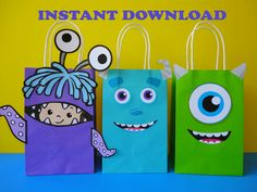 Monsters Inc Party Favor Bags - Monsters Inc/ Monsters University Birthday Party Ideas/ Little Monster/ Monsters Party Ideas/ Decorations/ Favors/ Goody/ Candy/ Goodie/Treat/ Loot/ Bags/ Bag/ boxes/ balloons/ labels/ stickers/ poster/ onesie/ little monster baby shower ideas/ Monsters birthday cake/ cookies/ banner/ printable invite/ invitations/ cupcake toppers/ pinata/ party games/ print/ sulley/ mike/ monsters inc baby shower/ monsters inc 1st/ first birthday party/ fiesta monstruos…