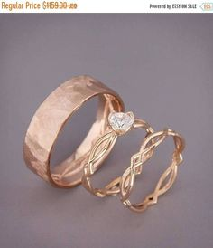 14K Rose Gold Eternity Engagement Ring and Wedding Rings Set