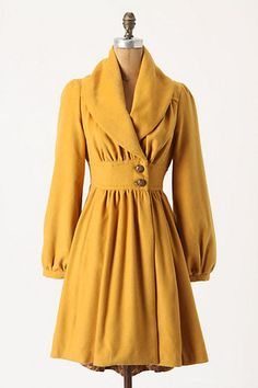 New Anthropologie Tracy Reese Ruched Marigold Coat Size s