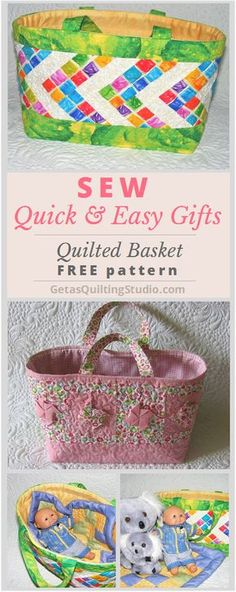 Quilted basket tutorial- add a doll and a doll quilt and a little girl will thank you!