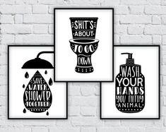 Bathroom wall decor bathroom wall art bathroom art bathroom signs wall decor home decor bathroom decor funny bathroom sign Bathroom Prints, Bathroom Wall Decor, Bathroom Signs, Funny Bathroom Decor, Bathroom Humor, Funny Christmas Gifts, Christmas Humor, Cumpleaños Harry Potter, Funny Boyfriend Gifts